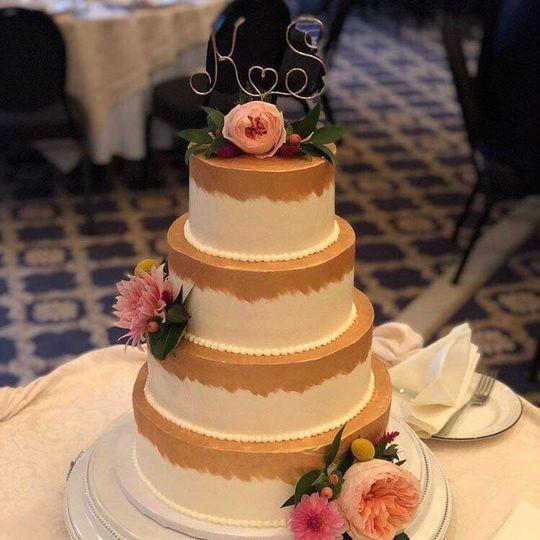 Elegant cake with fresh flower