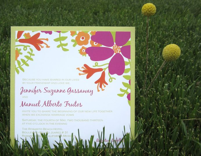 Bloom Clutch Wedding Invitation:    The gorgeous blooms of this modern pocket wedding invitation are...