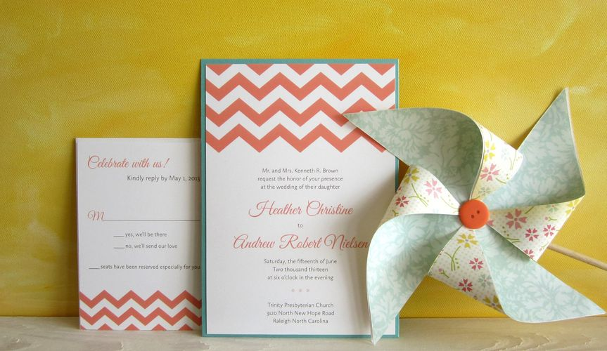 800x800 1372787591466 chevron pocket wedding invitation coral and aqua