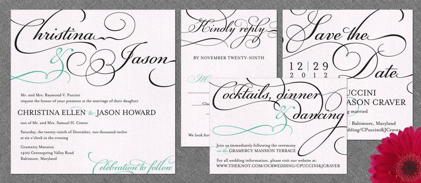 Bella Wedding Invitation:    This alluring and elegant square wedding invitation design features...