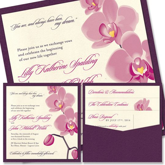 Orchid Clutch Wedding Invitation:    Luscious petals create a feeling of the tropics on our gorgeous...