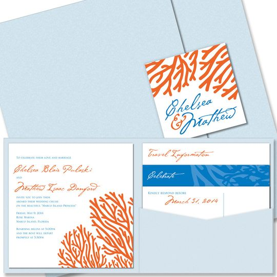 Coral Square Pocket Wedding Invitation:    Our Coral Pocket Wedding Invitation has a lively, exotic...