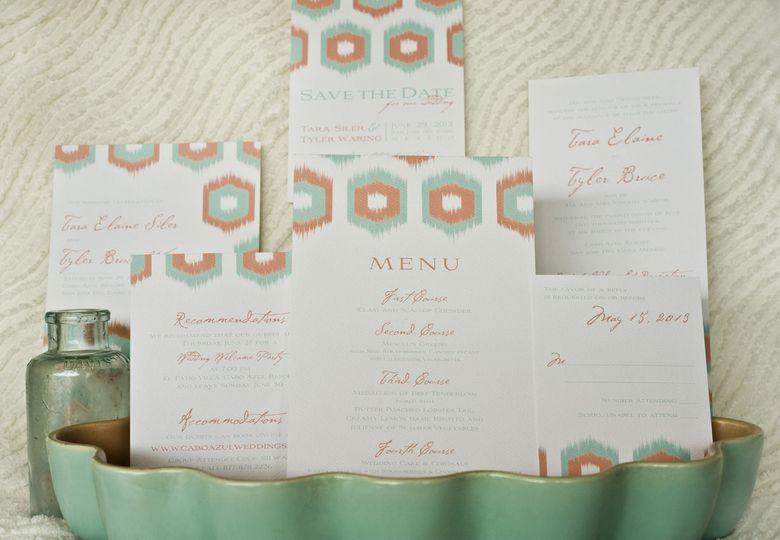 Ikat Wedding Invitation, Menu & Stationery:    Ikat, a bold pattern used predominantly on textiles,...