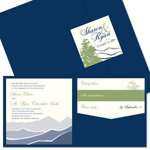 Mountain Pocket Wedding Invitation:  This extraordinarily unique invitation design is as serene and...