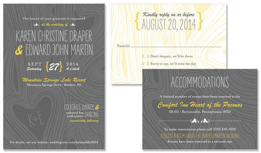 Woodgrain Wedding Invitation:    With its fun, free-spirited elements, the Woodgrain Wedding...