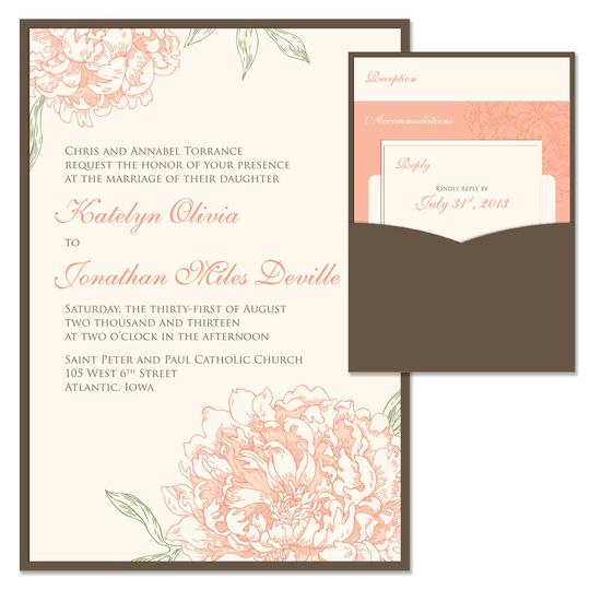 Peony Clutch Wedding Invitation:    Your guests will fall head over heels for our soft and romantic...