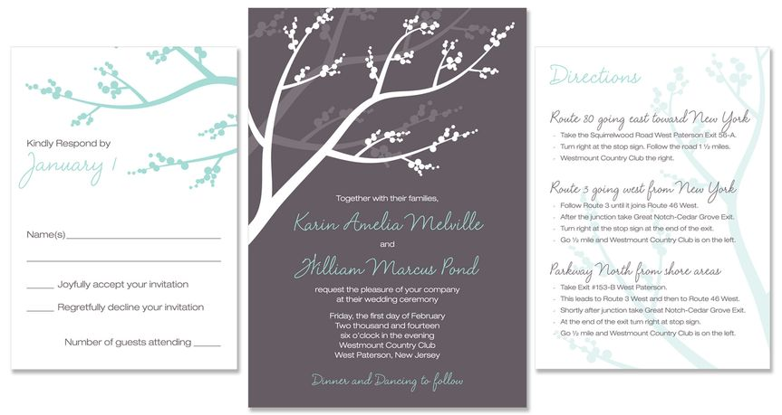 Winterberry Wedding Invite:  This playful, modern wedding invitation design features branches and...