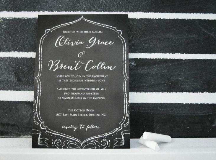 This trendy Chalkboard Wedding Invitation possesses elegant lines and artsy charm! We think it looks...