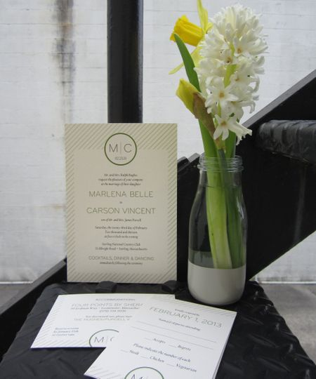 Simple PinStripe lines rule this modern wedding invitation.  Minimalist, yet elegant, this invite is...