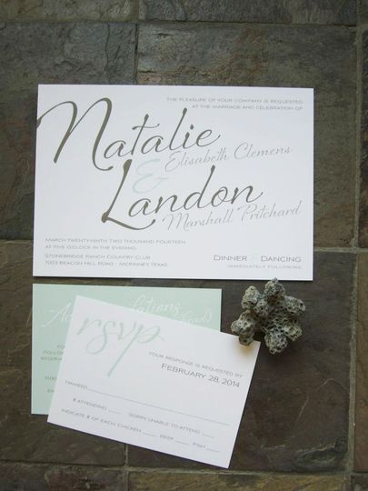 This flirty wedding invitation design is bold and beautiful but also sweet and simple at the same...