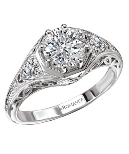 octagon shaped diamond halo ring in 18kt white gol