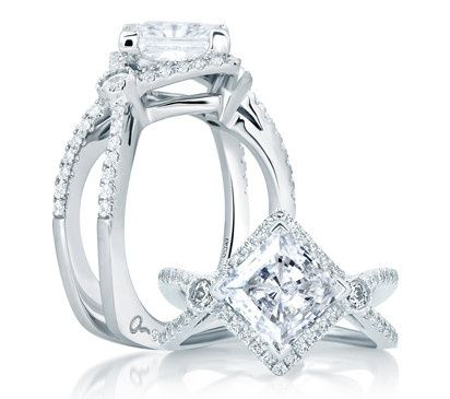 Tmx 1423497977493 Deco Double Shank Bubble Prong Engagement Ring Charlotte wedding jewelry