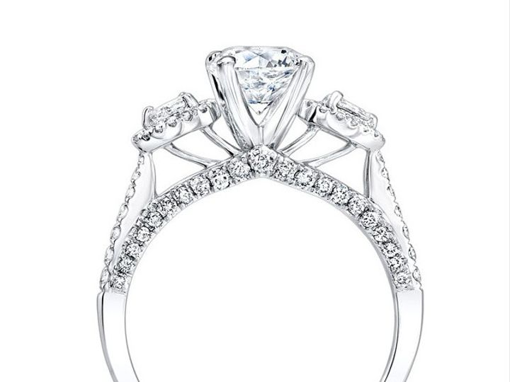 Tmx 1423498010386 18k White Gold Three Stone Diamond Engagement Ring Charlotte wedding jewelry