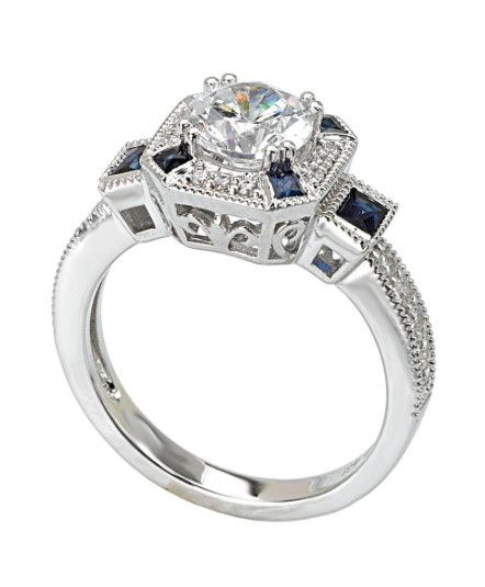 Tmx 1423498075500 Sapphire And Diamond Halo Ring Charlotte wedding jewelry