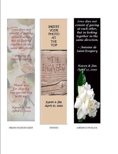 Wedding Favor Bookmarks by Low Budget Fairy Tale Weddings, Wedding ...