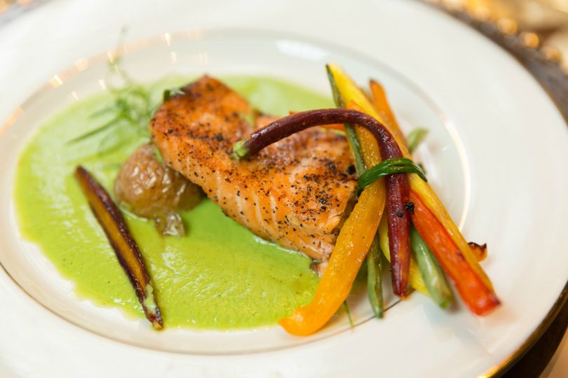 Salmon with green sauce