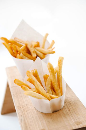 Frites: all natural, no coating, preservatives or added flavors, served with a variety of 5 sauces...