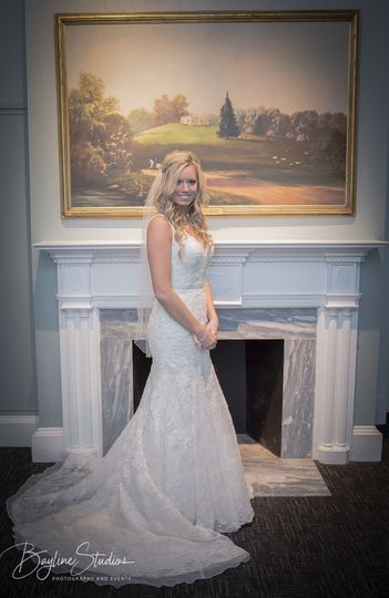 Bride and fireplace formal shot