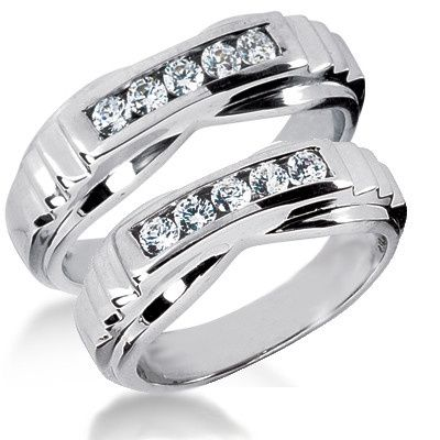 This immaculately designed Diamond Wedding Bands Set includes two beautiful rings made of 14k white...