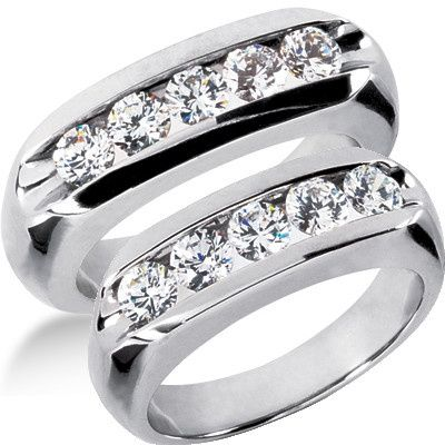 This exquisitely designed Diamond Wedding Bands Set includes two beautiful rings made of 14k white...