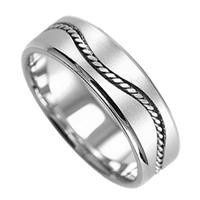 14k white gold handmade wedding band with satin finish and a wave-shaped woven design going all...
