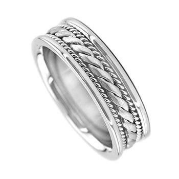 14k white gold wedding band with high polish and braided design through the center with silky smooth...
