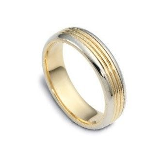 This 14k two tone dome surface, wedding band features five rows of alternating finishes