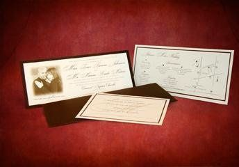 Mounted Single Panel Invitation : Photography w/ Map and Response Postcard inserts