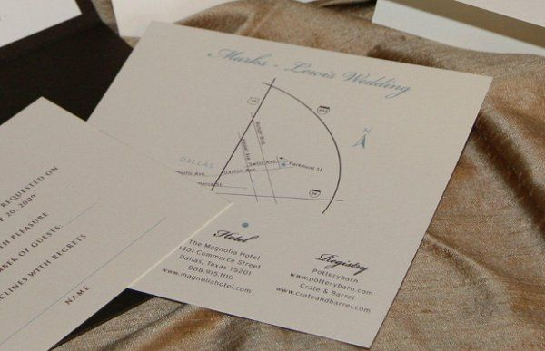 Custom designed Map Inserts : include event site, hotels, website, registry and any additional info...