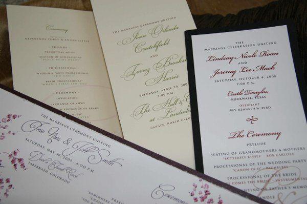 Custom designed Ceremony Programs