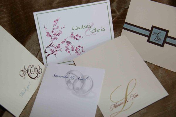Custom designed Thank you Cards : personal stationery designed w/ artwork, names and monograms