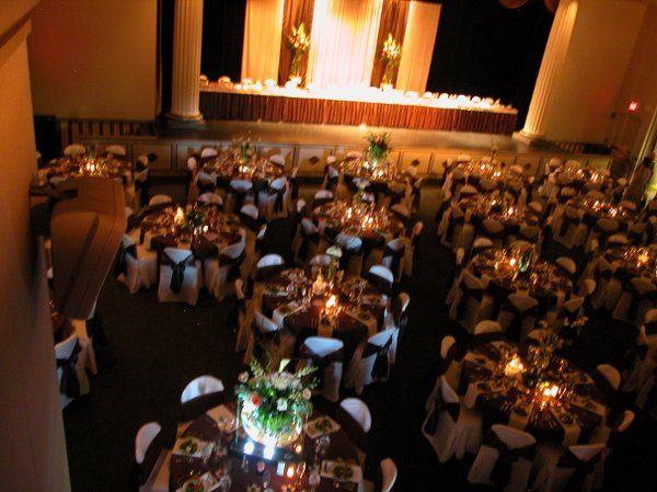 Theater ~ Set-up for reception. Head Table on the stage.