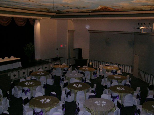 Theater ~ set-up for reception, portable in the far corner.
