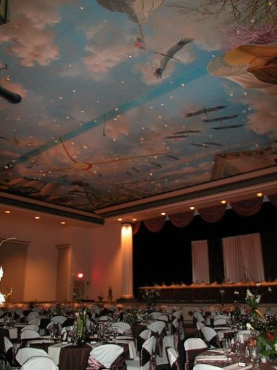 "Theater set-up for reception. View of Ceiling mural and ""stars"""