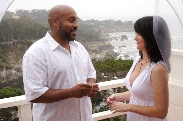 This beautiful couple was married on the balcony of their resort overlooking the cliffs of Carmel.
