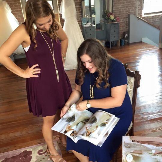 Browsing through bridal catalog