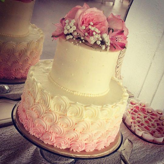 Soft pink ombré effect cake