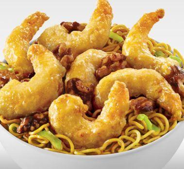 Honey walnut shrimp with chow mein