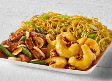 Shanghai angus steak and honey walnut shrimp with chow mein