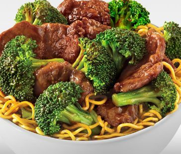 Broccoli beef with chow mein