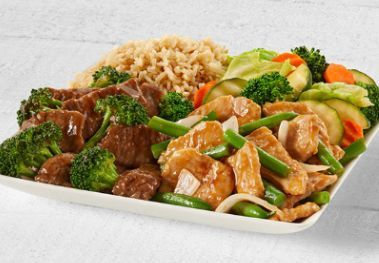 String bean chicken breast and broccoli beef with brown steamed rice and mixed vegetables