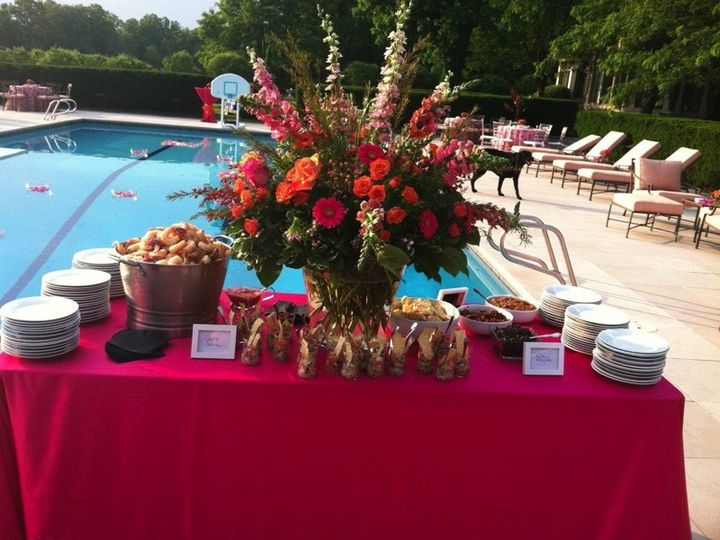 poolside setup catered