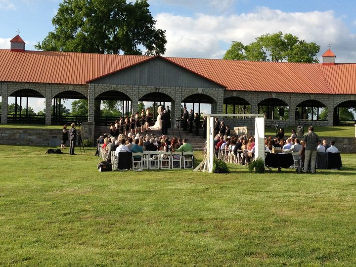 Outdoor ceremony on the steps.