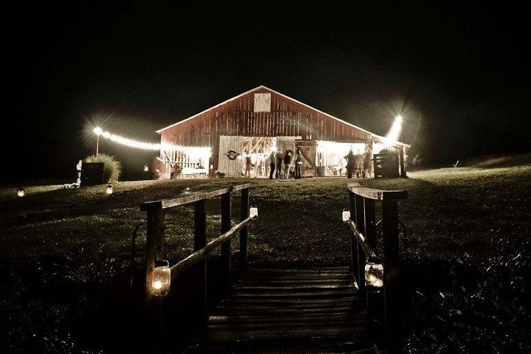 Dodson Orchards - Barn Wedding Venue at night - Barn Reception Venue