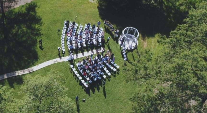 Aerial view of ceremony