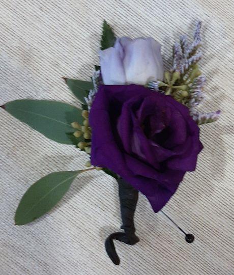 Purple Lisianthus Boutonniere