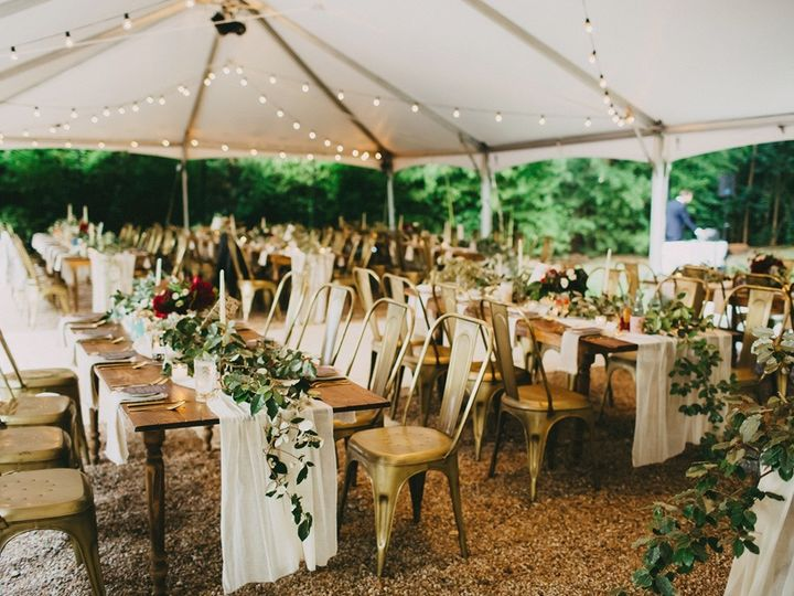Tmx Reception Farmhouse Seating In Courtyard Under Tent W Gold Industrial Chairs 51 66524 1570116956 Austin, TX wedding venue