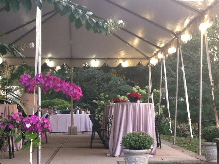 Reception tent and decor