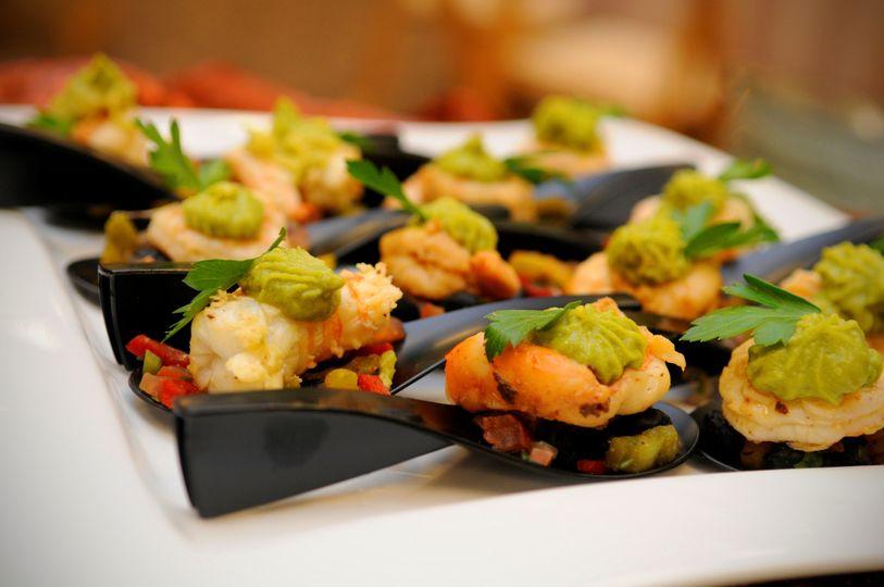 Shrimp ceviche on spoons