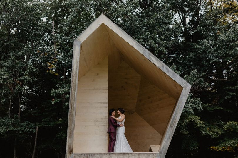 Couple posing in abstract structure